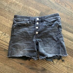 American Eagle Black Denim Jean Midi Shorts 6 EUC